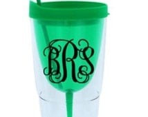 Monogrammed Green Double Wall Wine Tumbler with Straw