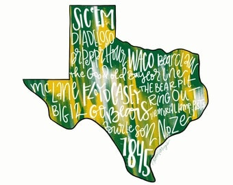 DIGITAL DOWNLOAD Baylor University Bears Typography Printable Wall Art, Sic 'Em Bears, College Football, Green and Gold, Waco, TX