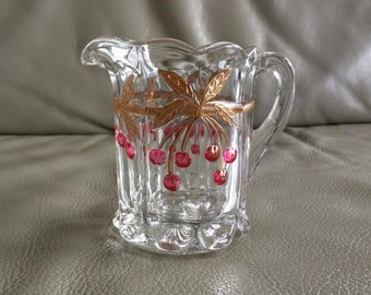 Vintage Small Pitcher, Cherry Thumbprint Pattern, Mosser Glass Company, Ca. 1970s