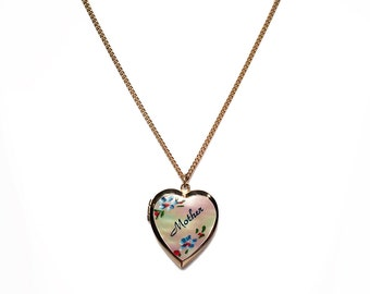 "Vintage Brass Hand-painted Mother-of-Pearl ""Mother"" Heart Locket Pendant Necklace, Circa 1940's"