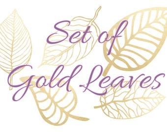 Set of 5 Gold Foil Leaves - Vectors, PNGs & JPEGs