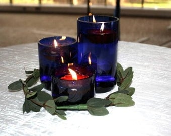 Blue Glass Votives Set of 3 - Repurposed Cut Wine Bottles
