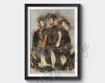 Supernatural Poster, Sam, Dean and Castiel, Supernatural Watercolor Art Print, Jensen Ackles, Jared Padalecki, Misha Collins, Supernatural