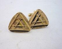 Vintage Art Deco Gold Tone Geometric Cuff links