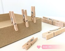 """Handcrafted Wooden Clips, Clothespins, Pinches, 0.98"""" (2.5 CM= Small), Laundry Pins"""