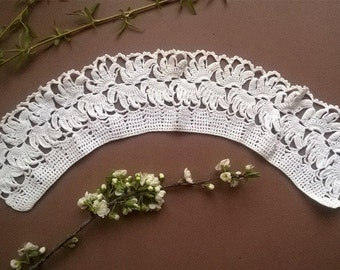 White collar crochet, Lace Collar, Handmade Lace Collar,  Vintage Lace Collar,  80s vintage collar