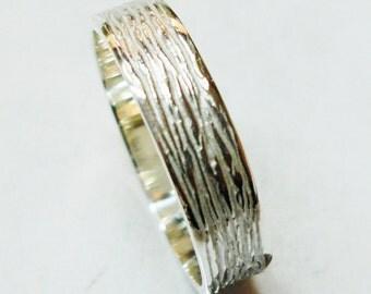 Wood texture imitation sterling silver wedding ring, A-21 alliances, rings of marriage.