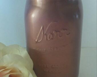 copper painted mason jar.