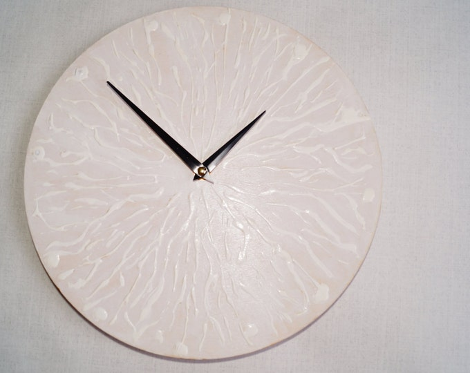 White relief wall clock- Minimalist Wall Clock- Home and Living- Unique Wall Clock- quartz Movement