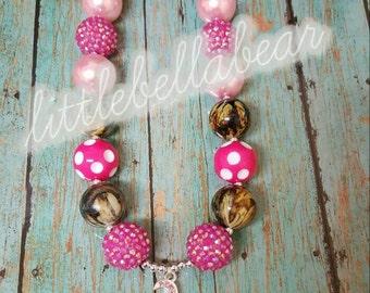 Camo Deer head Bubblegum necklace