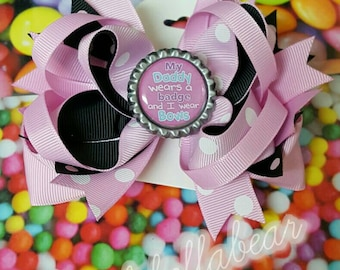 """Sheriff  / POLICE / FIRE 5"""" STACKED Hair Bows"""