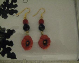 Poppy Flower Earrings/Flower Earrings