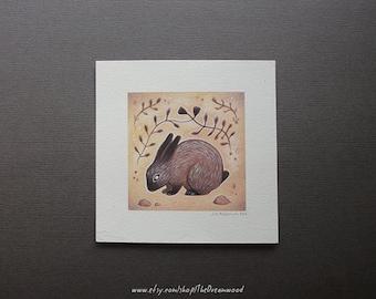Original Artwork - Tiny Pointed Rabbit Painting