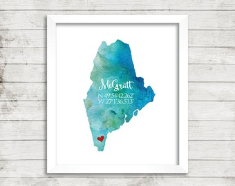 Home, Art Print, Wall Art, Housewarming Gift, Custom, Longitude, Latitude, Personalized, New Home, Family, Watercolor, ALL STATES AVAILABLE