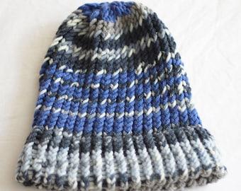 KNIT HAT, blue, gray , Handmade