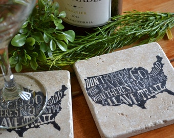 Leave a Trail Handmade Travertine Tile Coaster Set