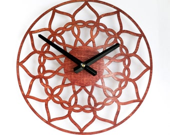 Wall Clock, Unique clock, Wood Clock, Modern Clock, Red Clock, Wooden hearts, Birthday gift, Housewarming gfit,  Hearts clock, Gift for her