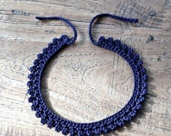 Crochet Chocker dark blue. 100% cotton.