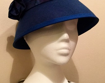 Royal blue felt cloche