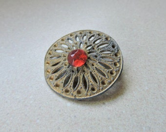 Vintage Large Brass Button with Ruby Red Stone