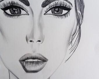 Portrait Drawing, graphite drawing, pencil drawing, drawing, pencil, portrait drawing, beauty, art, portrait, girl, wall art, lips, feminine
