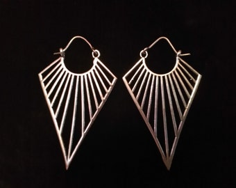 Tribal earrings plated Silver earrings silver plated tribal jewelry.