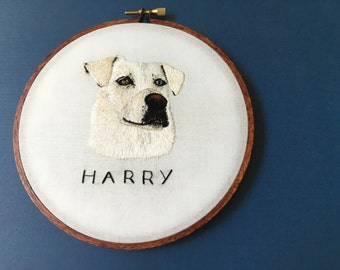 Pet Portrait Custom Pet Portrait Embroidery Hoop Art Hand Embroidered Personalized Embroidery Dog Portrait Art by Hoffelt and Hooper Co