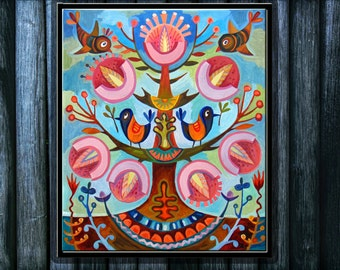 Oil painting family tree Oil painting on canvas Artwork on canvas Oil painting flowers The original oil painting The original art work
