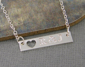Personalized Couples Necklace His and Hers Girlfriend Gift Custom Initial Silver Bar Necklace with Heart |2471