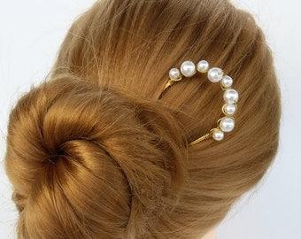 Hair Fork with Pearl Metal Hair Stick Hair Pin Hair Clip Bun holder Hair Jewelry Women Hair Accessories Gift, Shawl Scarf Pin Sweater Brooch