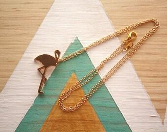 Collier ras du cou Flamant rose | doré | Joli bijou minimaliste | 2017 | Cadeau mignon offrir pour elle | anniversaire | livraison gratuite