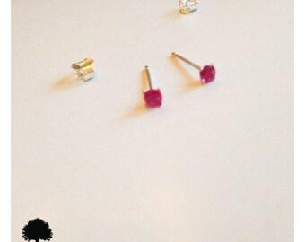 3mm Red Ruby Sterling Silver Dainty Stud Earrings-