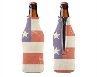 Beer Cooler, Beer Hugger, Bottle Hugger, July 4th,  Beverage Cooler, Father's Day Gift, Flag Cooler, Drink Cozie, Outdoor Cooler, Hugger