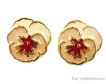 Vintage Avon 1989 Full Bloom Pansy Earrings, Enamel Goldtone Pierced Style, Peach Pink Floral 1980s 80s Chunky Golden