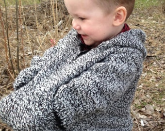 Boys Black and White Hooded Sweater