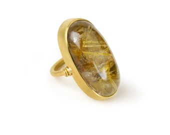 22 Kt Brushed Gold & Rutilated Quartz Ring
