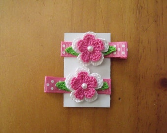 Handmade Boutique Double Prong Lined Alligator Hair Clips - Crochet Flowers - Pair of Hot Pink & White w/polka dot ribbon