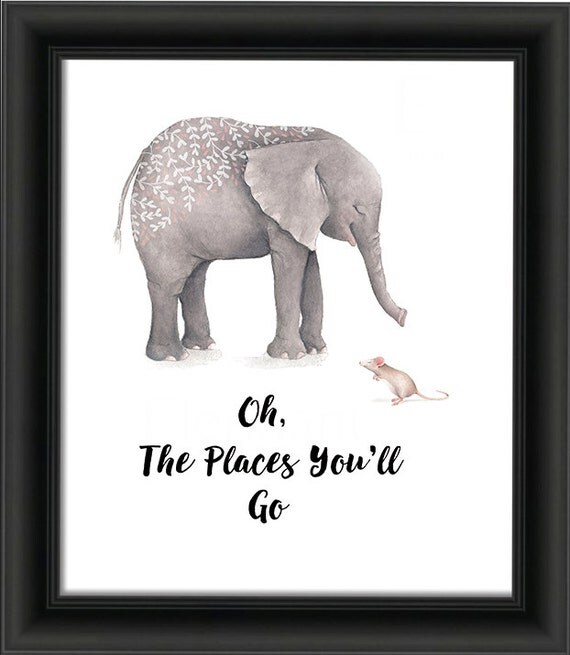nursery elephant oh the places you 39 ll go printable. Black Bedroom Furniture Sets. Home Design Ideas