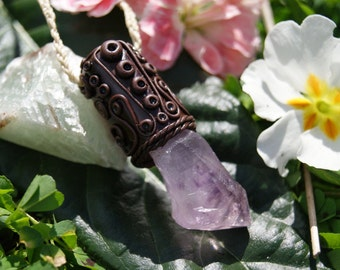 Clay Pendant with Amethyst