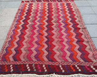 Bright bohemian kilim rug 7x5 ft