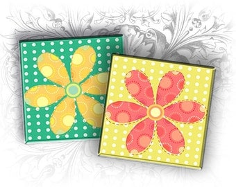 Cute Flowers 1 Inch Square Images Digital Collage Sheet Ready to Print