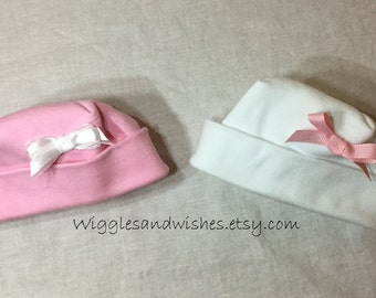 Set of two baby hats, newborn, preemie, micro preemie
