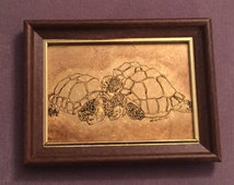 Turtles Image Pen and Ink Gold Leafed on Glass Art,Signed by Artist 1974. Vintage Unique Rare.FREE SHIPPING