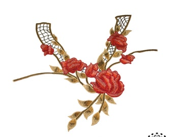 Red roses floral embroidered applique - Neck collar