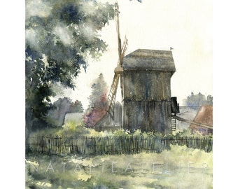 Windmill- watercolour print, architecture