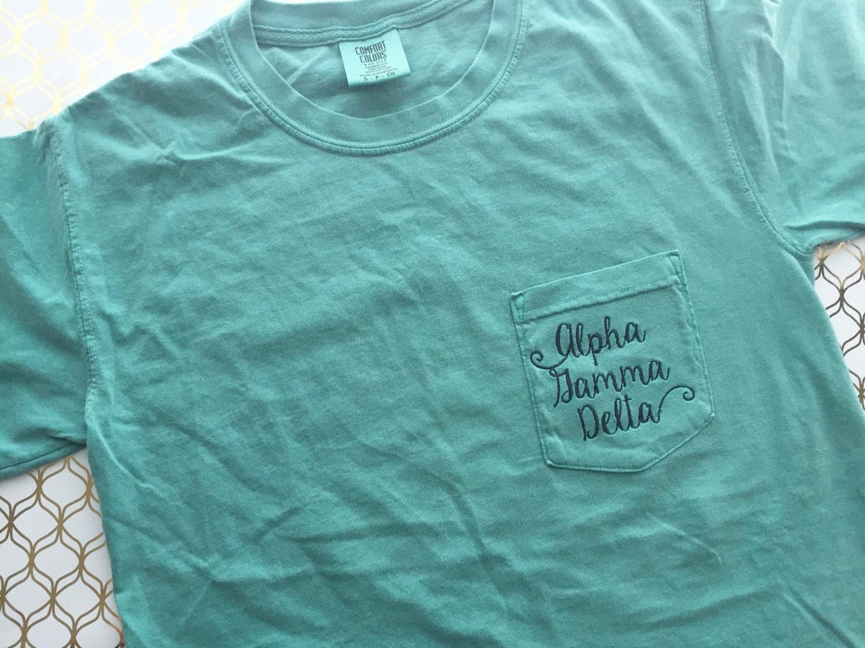 Comfort colors sorority pocket t shirt for Frat pocket t shirts