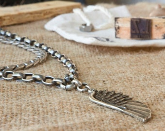 Silver Necklace, Silver Chain, Silver Necklace with pendent, wing pendent, Layered necklace, oxidized silver,Gift for her, silver jewellery