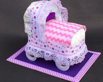 Adorable bassinet, pink bassinet, girl bassinet, diaper cake, baby shower gift, baby shower girl, baby shower for girl, baby shower ideas