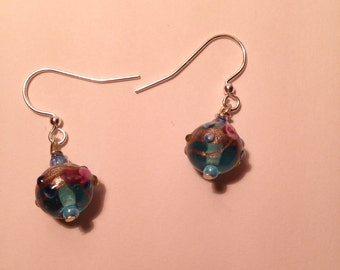 Blue textured bead earrings