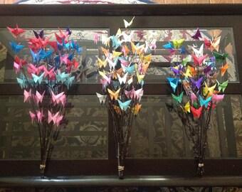 Baby shower centerpiece origami butterflies birch branches